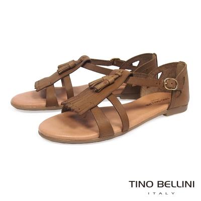 Tino Bellini 西班牙進口全真皮舒足流蘇平底涼鞋 _咖