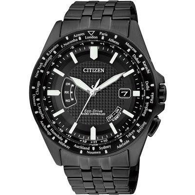 CITIZEN Eco-Drive精準掌握光動能5局電波錶(CB0028-58E)-黑/43mm