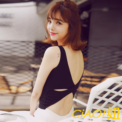 後背大交叉蝴蝶結挖空背心 (共二色)-CiAO妞