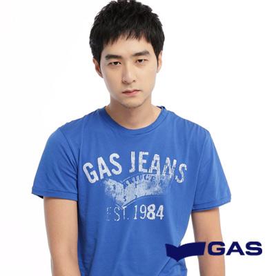 GAS-簡約低調-二手印花感設計短袖圓領T恤-藍-男款