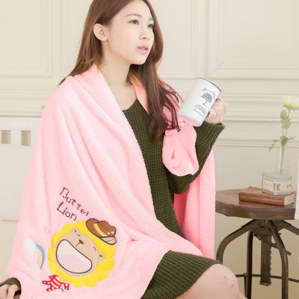 奶油獅 台灣製造 開纖紗柔膚吸水/保暖毛毯-彩虹牛仔(粉紅)