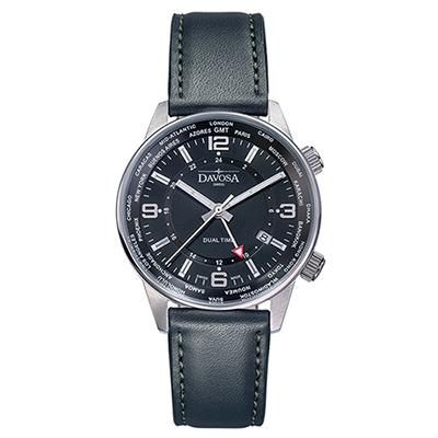 DAVOSA Vireo Dual Time–威利爾經典雙時區系列皮帶腕錶-黑/42mm