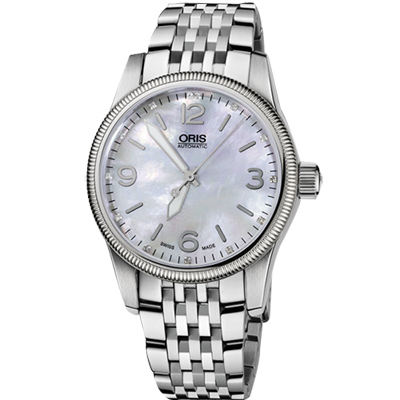 Oris Big Crown 經典大三針真鑽腕錶-珍珠貝/38mm