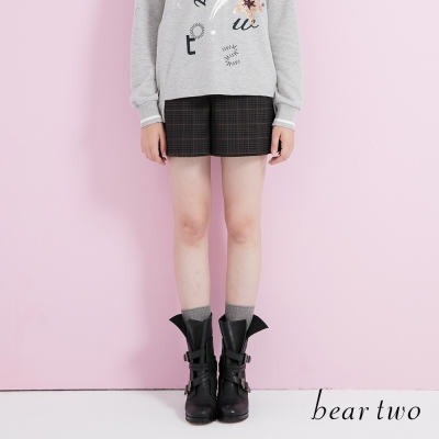 beartwo 學院風中腰排扣格紋褲裙(二色)