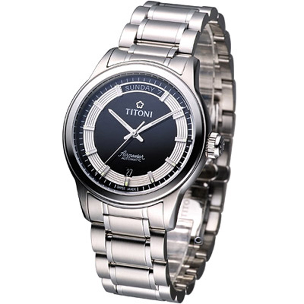 TITONI Airmaster系列 紳士機械腕錶-黑/39mm