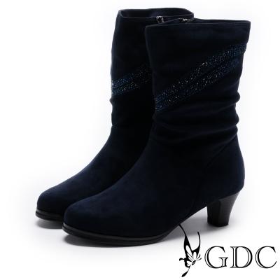 GDC-流線水鑽中筒低跟女靴-藍色