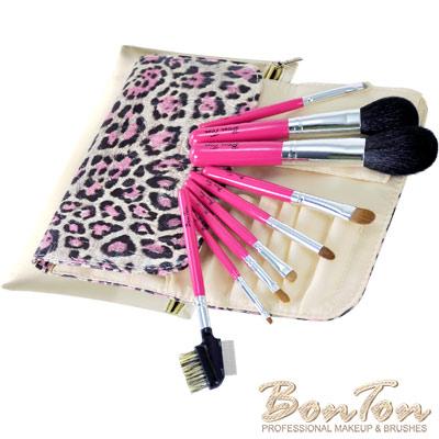 BonTon 套刷組合 9支入粉紅豹紋短柄刷組 B09-3