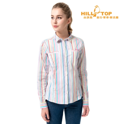 【hilltop山頂鳥】女款吸濕排汗抗UV彈性長袖襯衫S05F66水晶藍底彩條