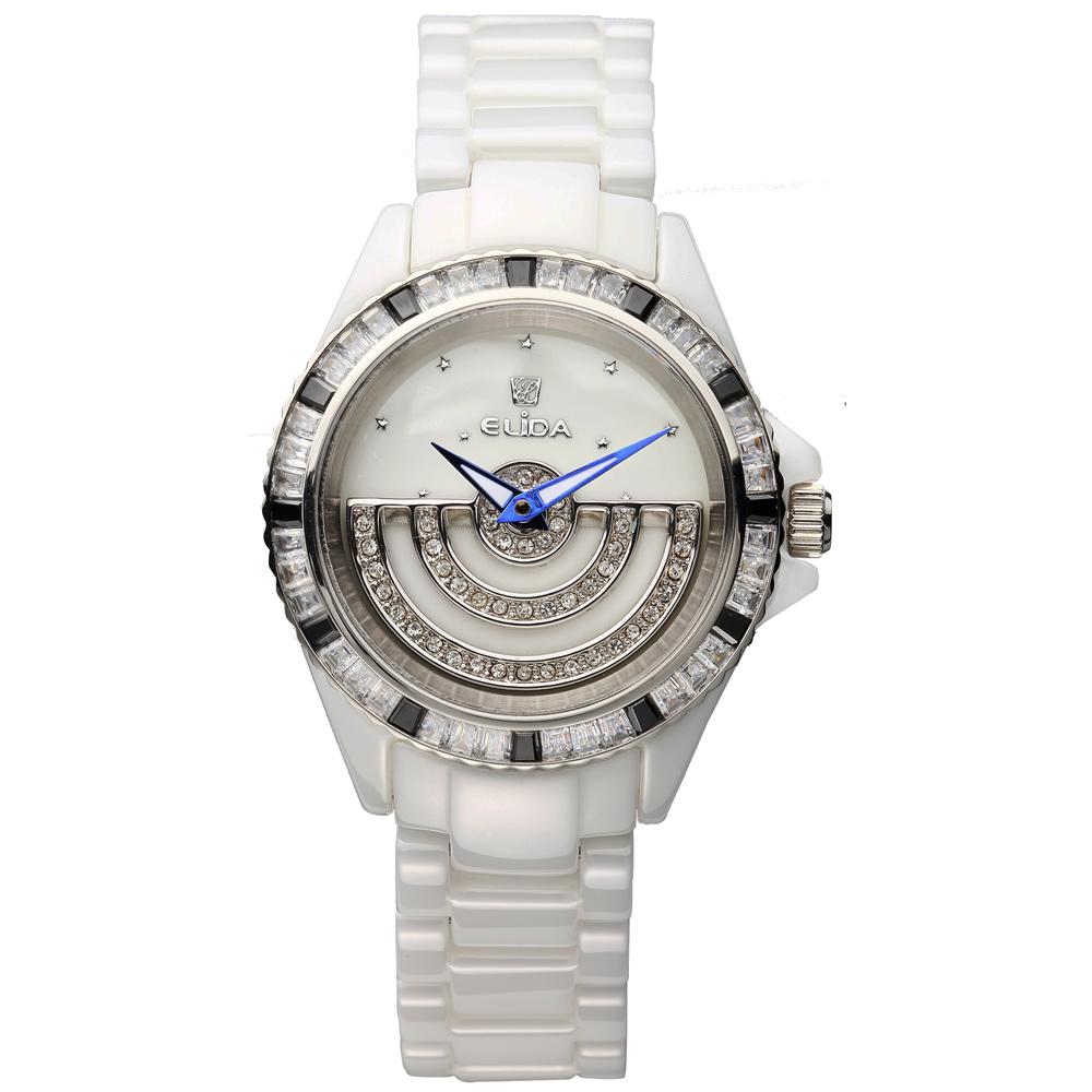 Elida 時來運轉系列日月星辰晶鑽陶瓷腕錶-32mm
