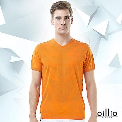 歐洲貴族oillio 短袖線衫 閃電造型 透氣休閒 橘色