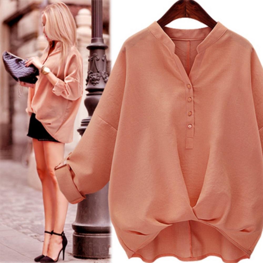 中大尺碼 小立領開釦下擺內縮棉麻純色襯衫XL~4L-Ballet Dolly