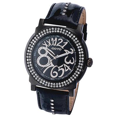GOTO水漾超美水鑽時尚大數字腕錶-IP黑x黑/46mm