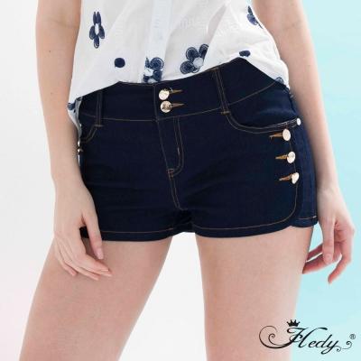 Hedy赫蒂 雙釦造型寬腰口袋丹寧短褲(藍色)