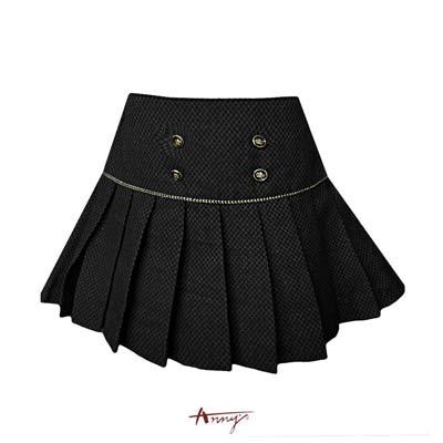 Annys貴族學院高質雙排釦金蔥百褶裙*5264黑
