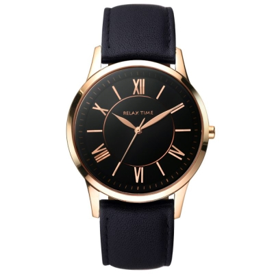 RELAX TIME RT 58  經典學院風格手錶-黑x玫塊金框/ 42 mm