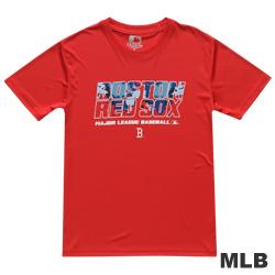 MLB-波士頓紅襪隊圖文遮色短袖快排T恤-紅(男)