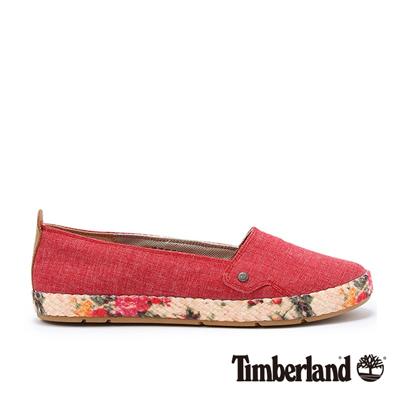 Timberland-女款紅色素面黃麻包邊休閒便鞋