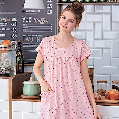 睡衣 碎花粉點點連身睡衣(R75026-2粉點點) 蕾妮塔塔