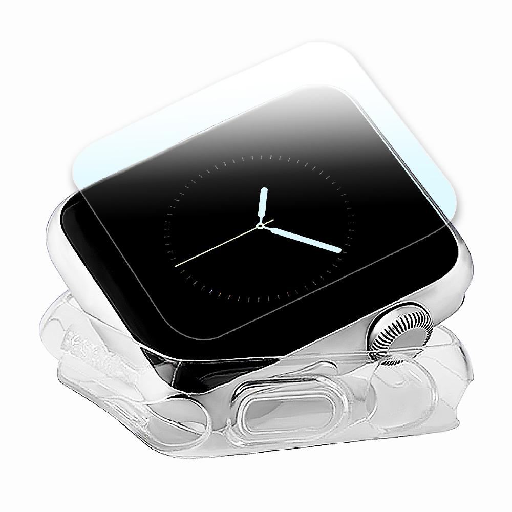 g-IDEA Apple Watch 38mm TPU 透明軟殼/鋼化玻璃貼組 @ Y!購物