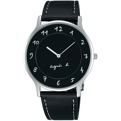 agnes b. 法式風情 簡約薄型腕錶(BJ5005X1)-黑/39mm