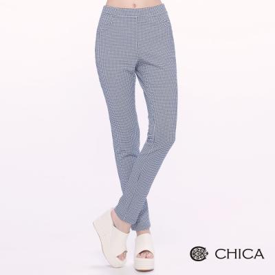 CHICA-甜美空氣感滿版小格紋長褲-1色