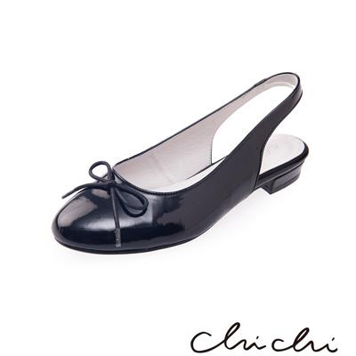 Chichi 圓頭蝴蝶結後縷空平底鞋*黑色