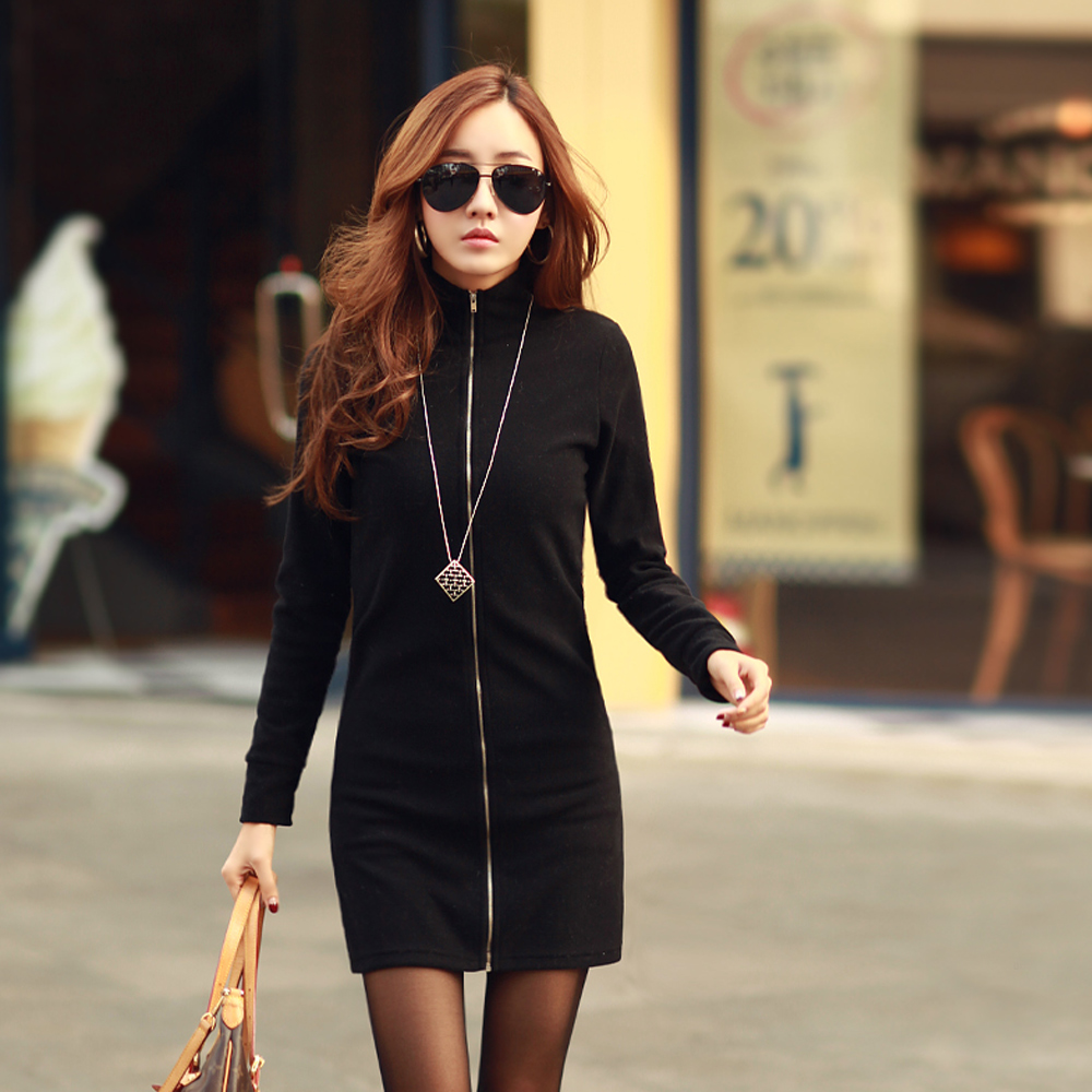 2way前開拉鍊外套連身裙 (黑色)-N.C21