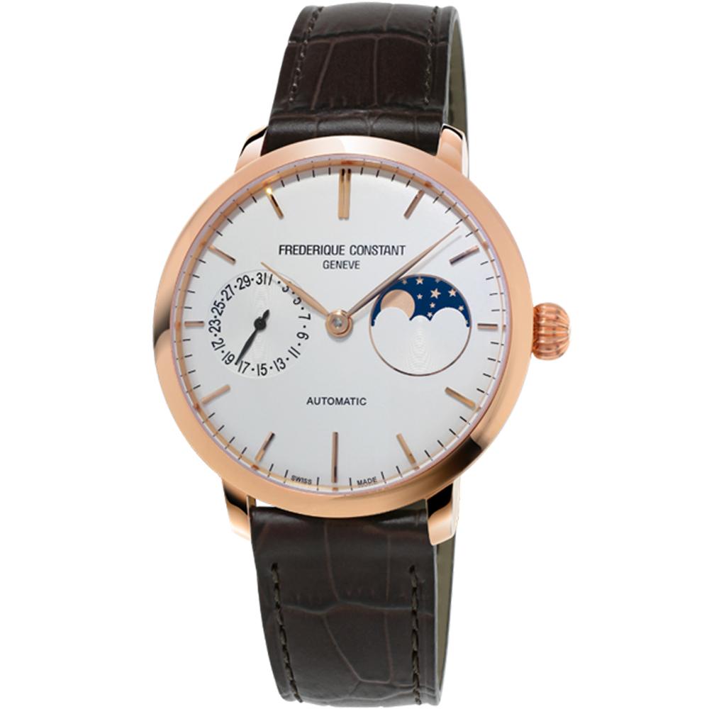 康斯登 CONSTANT 自製機芯超薄月相腕錶-38mm/白x咖啡