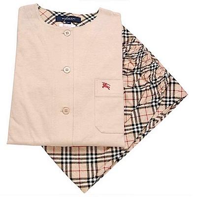 BURBERRY日本製經典戰馬LOGO棉質休閒家居服套組-淺駝色