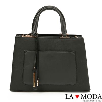 La Moda 時尚優雅Look~異材質拼接肩背斜背托特包(黑)