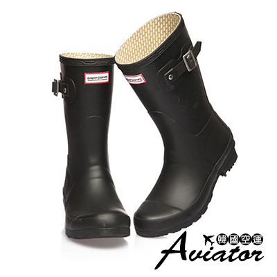 Aviator*韓國空運-Paperplanes質感扣帶防水低筒雨靴-黑