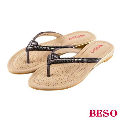 BESO 閃耀漸層 奢華滿鑽造型夾腳涼拖鞋~黑