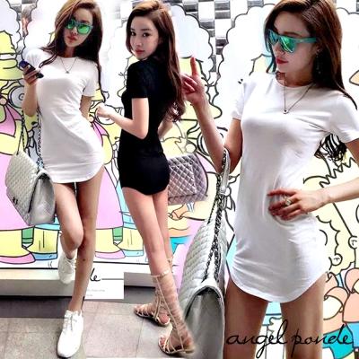 萊卡修身T恤洋裝個性彈力純色短袖包臀洋裝 (共二色)-天使波堤