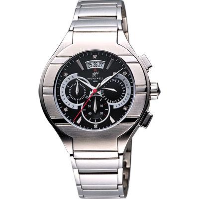 ROUND WELL 王者榮耀三眼計時真鑽腕錶-黑/銀/42mm
