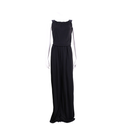 MARELLA 黑色縮領背心式寬管連身褲
