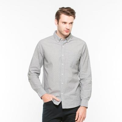 Hang Ten - 男裝 - 都會十字長袖襯衫 - 黑