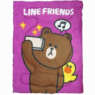 精靈工廠 LINE授權厚感搖粒絨暖暖毯被/熊大愛自拍-紫
