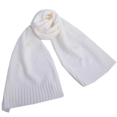 MICHAEL KORS MK LOGO滿版織紋素面針織長圍巾-米白