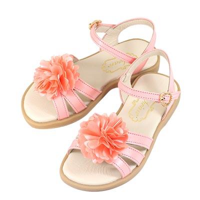 Swan天鵝童鞋-真皮花朵涼鞋 3842-橘