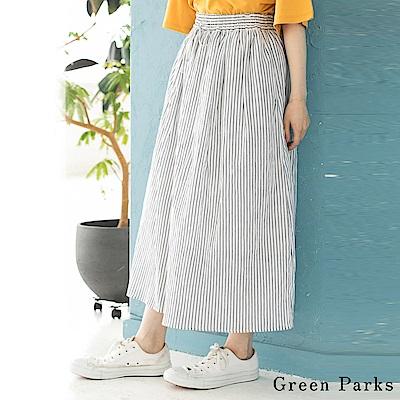 Green Parks 格紋/條紋微透設計長裙