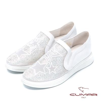 CUMAR時尚樂活 星形水鑽裝飾樂福鞋-白色