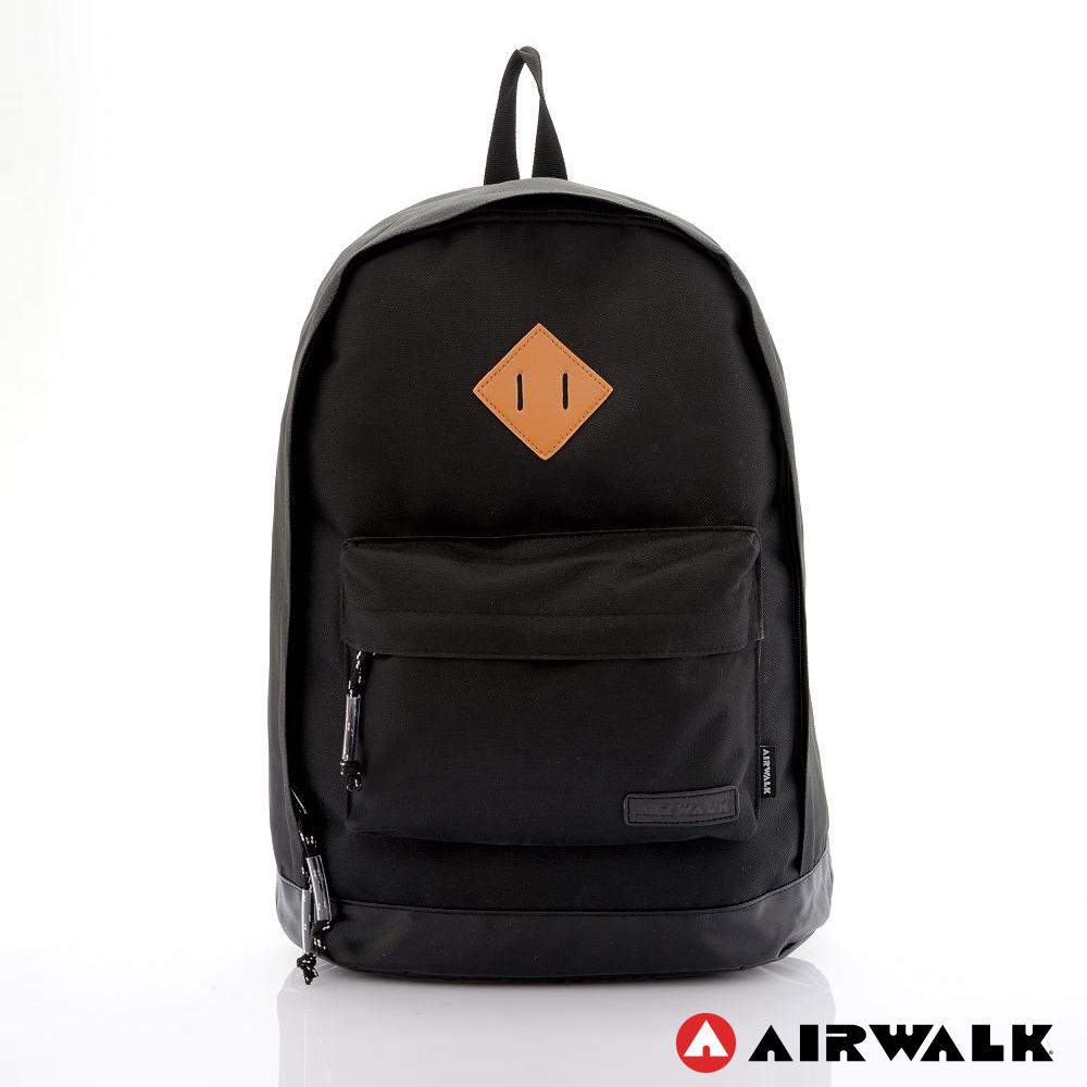 AIRWALK - 古著布紋 簡單豬鼻系筆電後背包 - 小豬黑