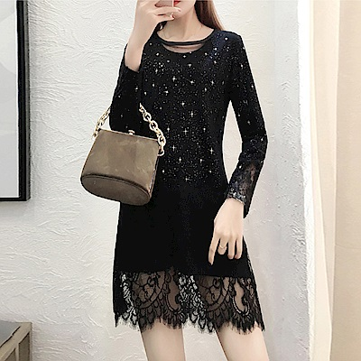 中大尺碼線領燙金星星細點拼接蕾絲鏤空袖裙擺洋裝XL~4L-Ballet Dolly