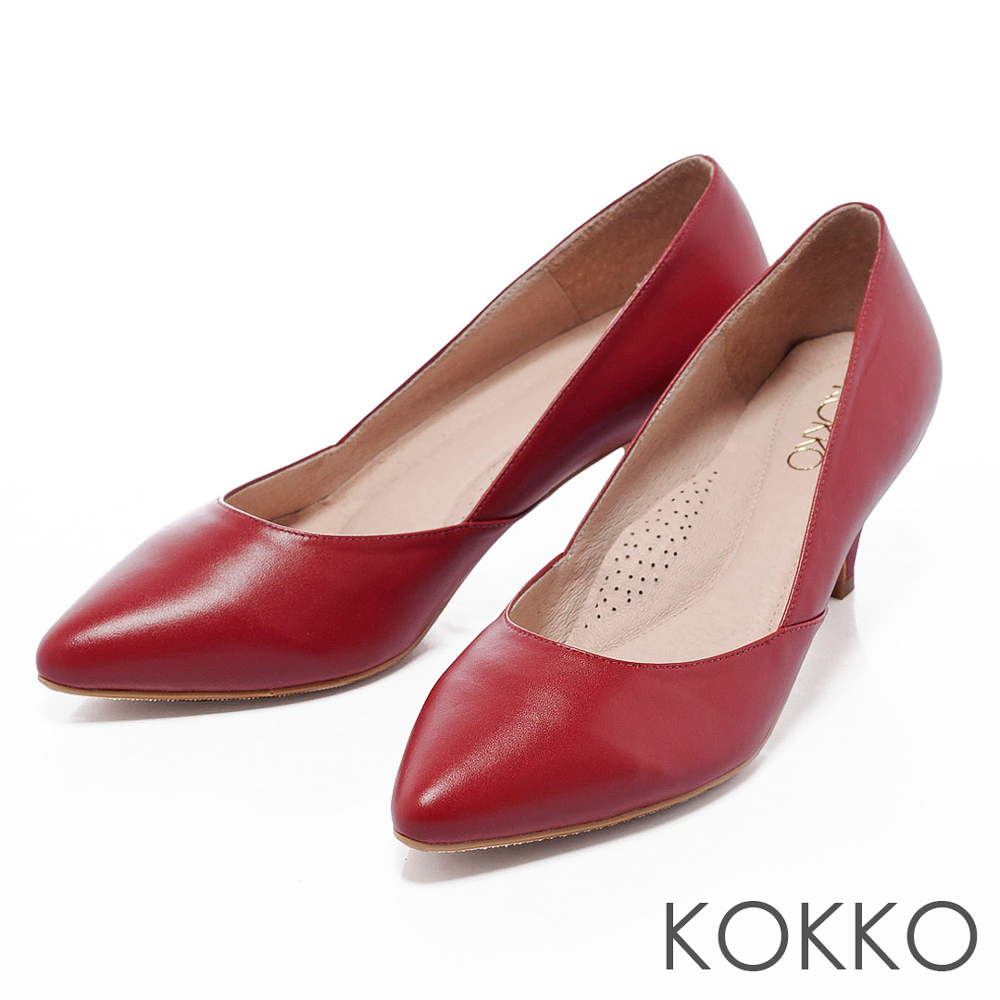 KOKKO 台灣手工-都會簡約尖頭素面低跟鞋 - 艷紅
