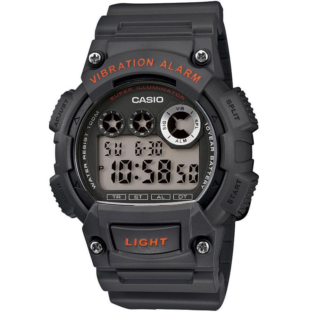 CASIO 超亮LED強悍震動數位運動錶(W-735H-8A)-黑灰/47mm