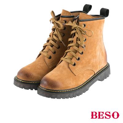 BESO 帥氣搖滾 漸舊擦色經典馬汀綁帶靴~茶