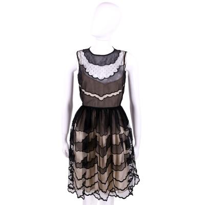 RED VALENTINO 黑色蕾絲拼接波浪設計無袖洋裝(附內裡)