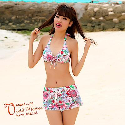 【AngelLuna日本泳裝】活潑印花三件式比基尼泳衣-紅色短褲