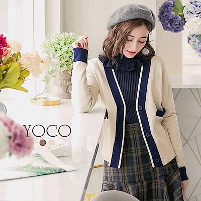 東京著衣-yoco 經典小香撞色針織排釦口袋外套-S.M.L(共二色)