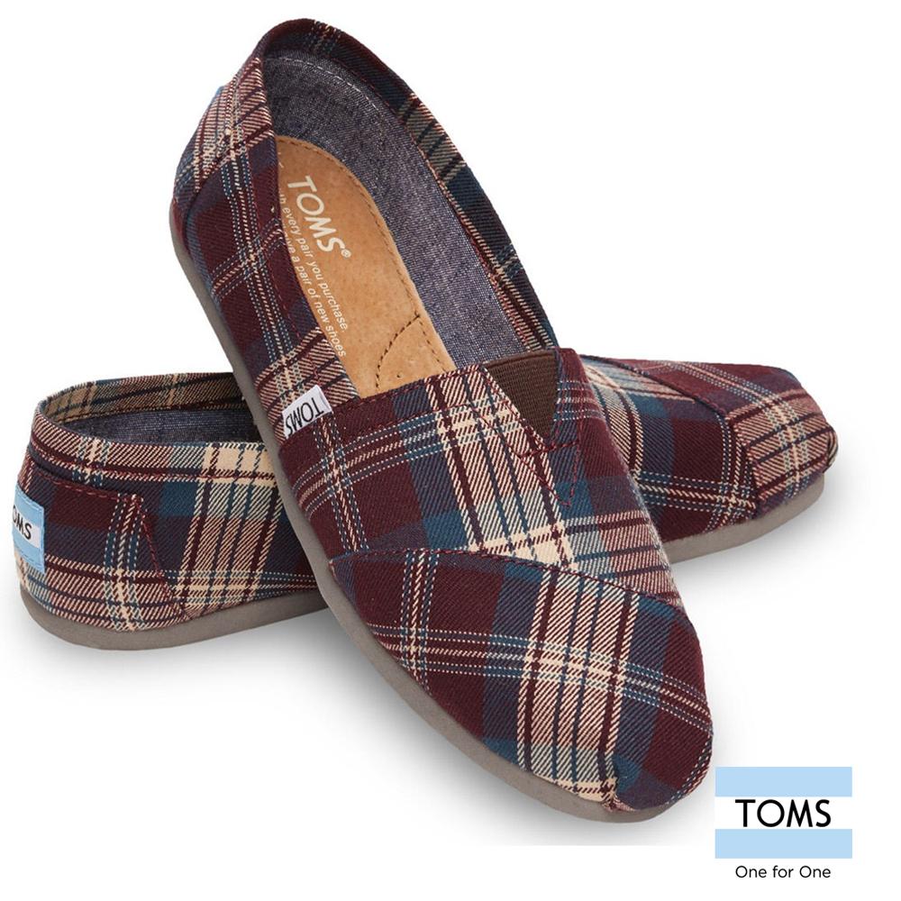 TOMS 經典格紋懶人鞋 -女款(紫)